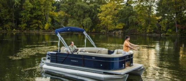 2019 Crest I Fish 220 SF Pontoon Boat Caribou/Black