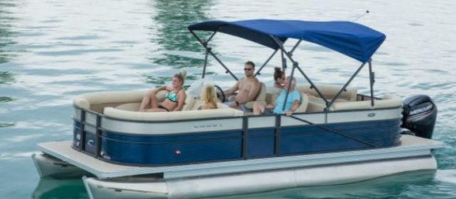 2019 Crest I 220 SLC Pontoon Boat Lagoon Blue/White