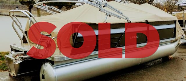 2020 Crest LX 220 SLS Pontoon Boat Caribou/White