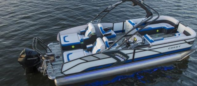 2021 Crest Caribbean RS 230 SLRC Tritoon Boat White/Pacific Blue