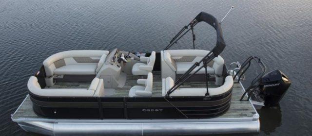 2021 Crest DLX 220 SLS Tritoon Boat White/Firecracker